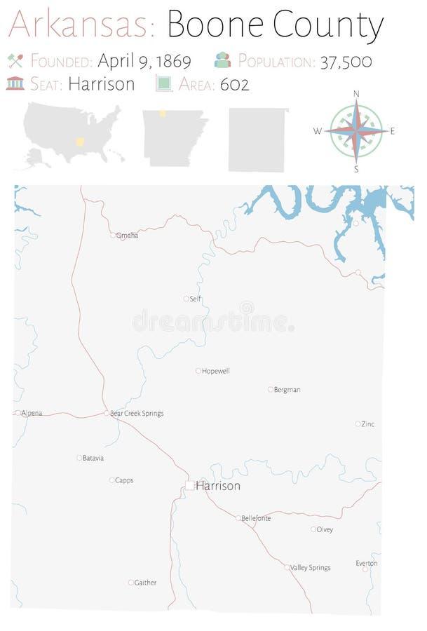 Mappa di Boone County nell'Arkansas royalty illustrazione gratis