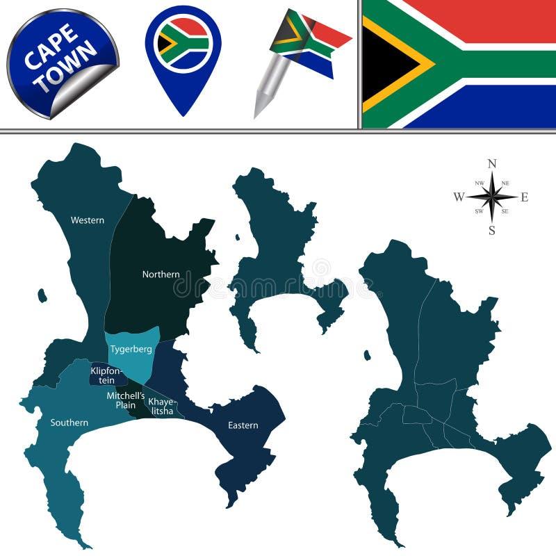 Mappa di Cape Town con i Subdistricts illustrazione vettoriale