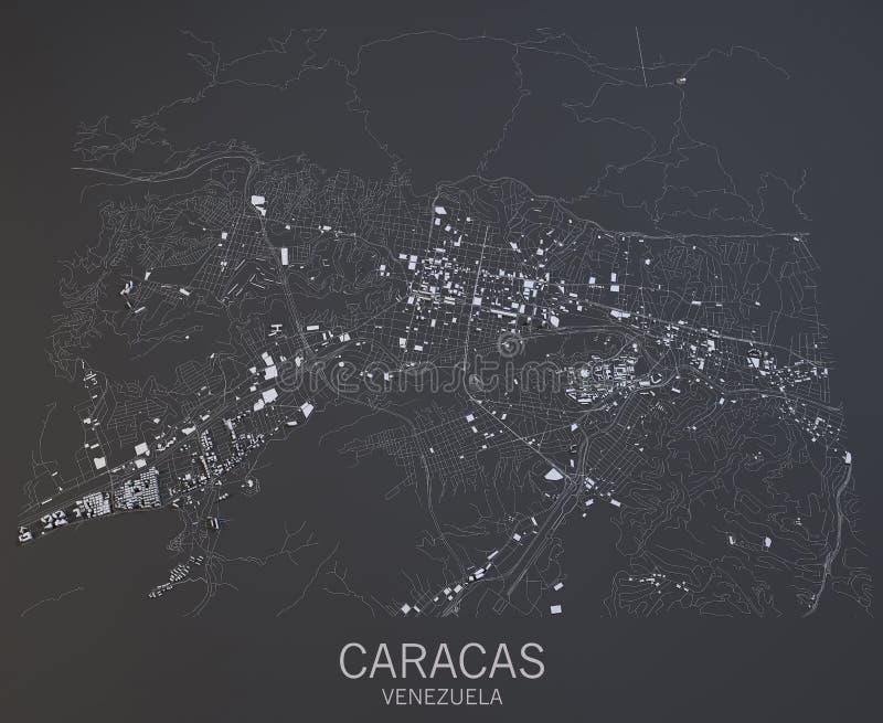 Mappa di Caracas, Venezuela, America Centrale fotografia stock libera da diritti