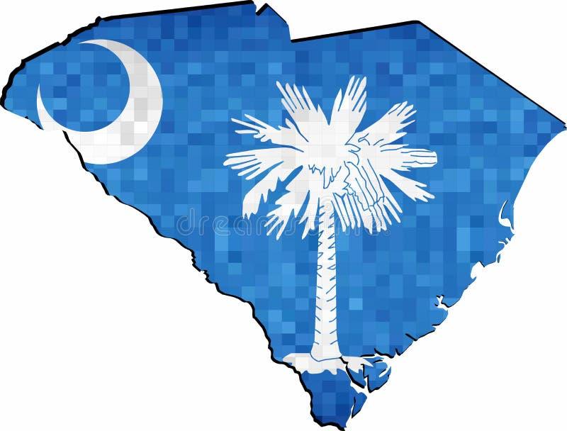 Mappa di Carolina del Sud di lerciume con l'interno della bandiera illustrazione di stock