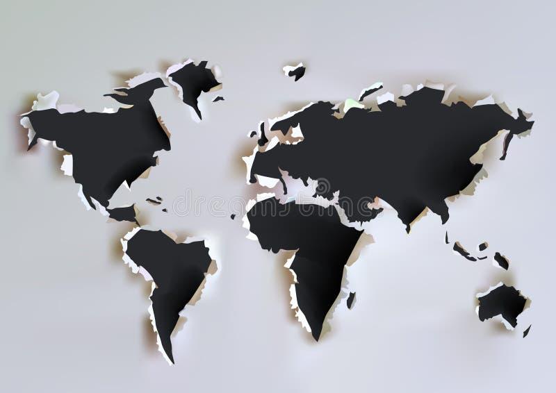 Mappa di carta strappata illustrazione vettoriale