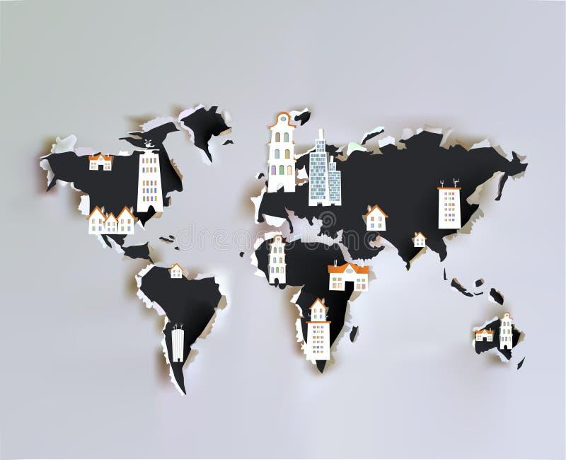 Mappa di carta strappata con le icone della città illustrazione di stock