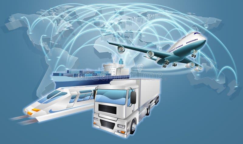 Mappa di commercio mondiale di concetto di logistica illustrazione di stock