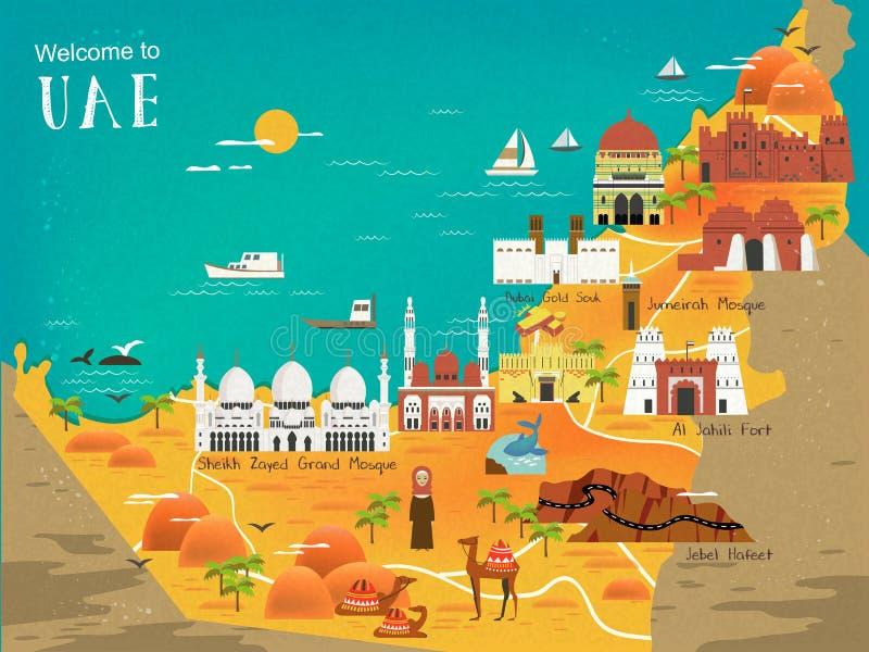 Mappa di concetto di viaggio dei UAE