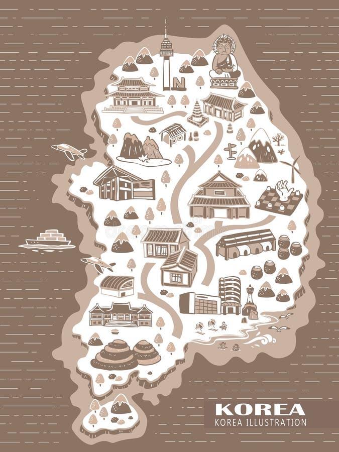 Mappa di concetto di viaggio della Corea illustrazione di stock