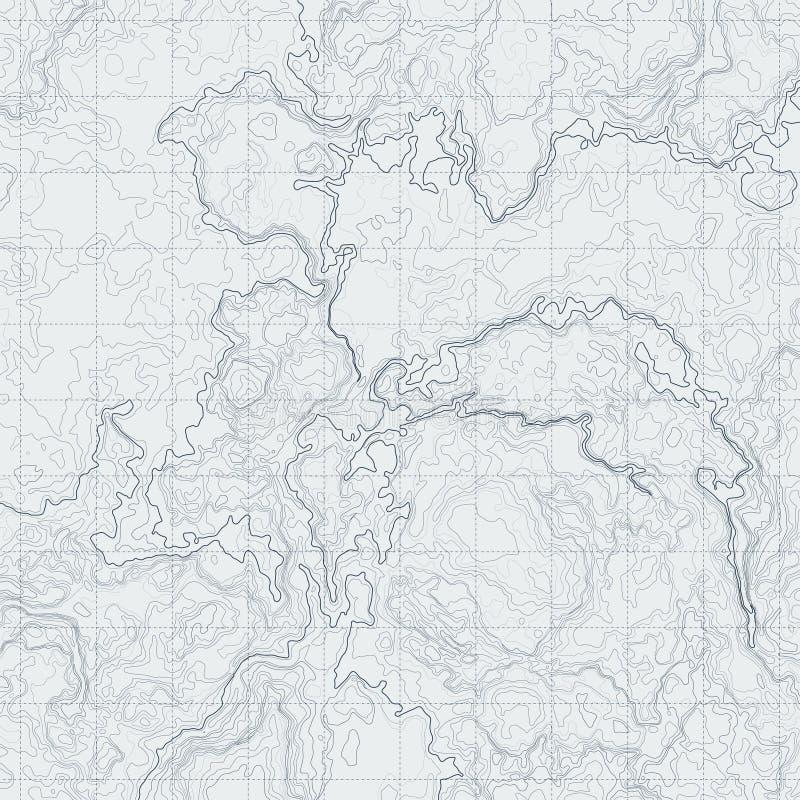 Mappa di contorno astratta con sollievo differente Illustrazione topografica di vettore per navigazione illustrazione di stock