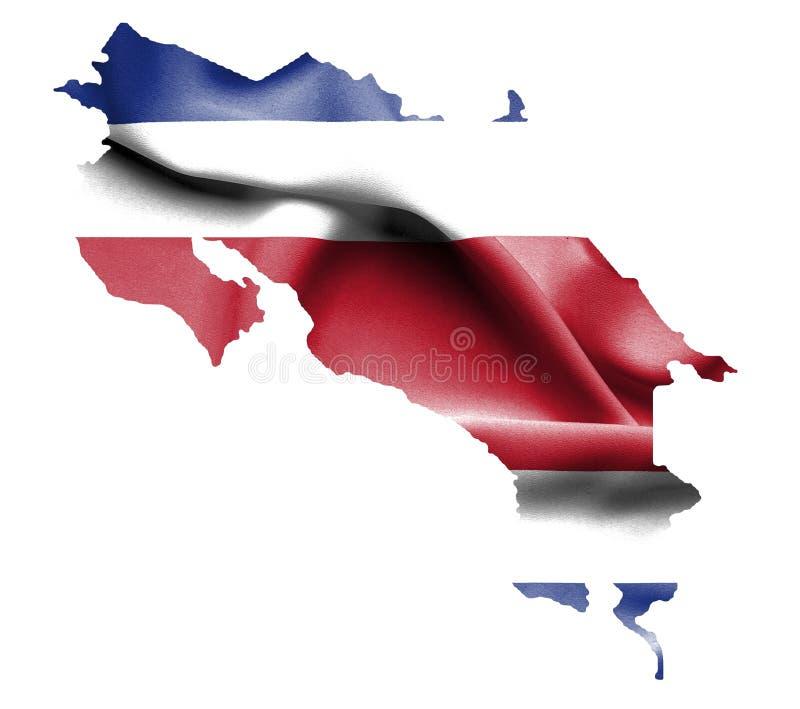Mappa di Costa Rica con la bandiera d'ondeggiamento isolata su bianco illustrazione di stock