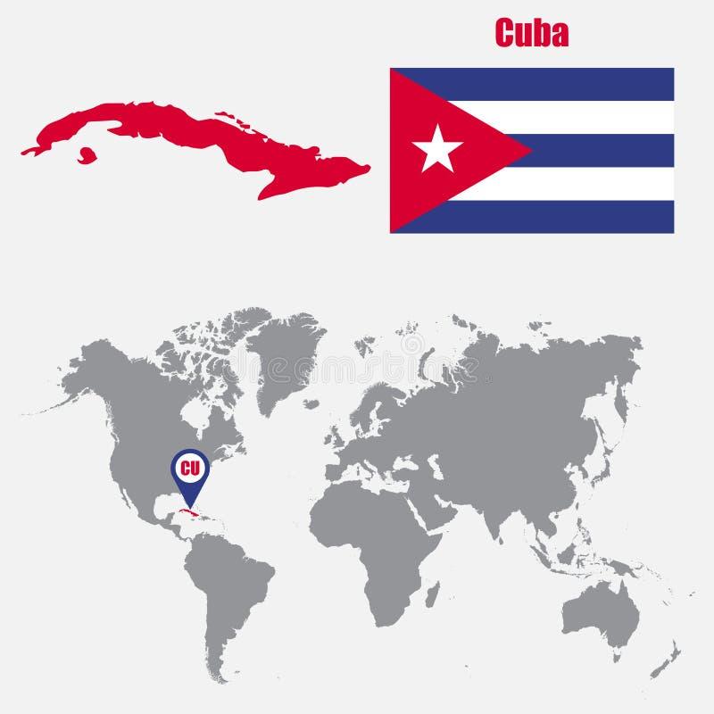 Mappa di Cuba su una mappa di mondo con il puntatore della mappa e della bandiera Illustrazione di vettore illustrazione vettoriale