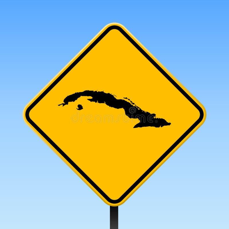 Mappa di Cuba sul segnale stradale illustrazione vettoriale