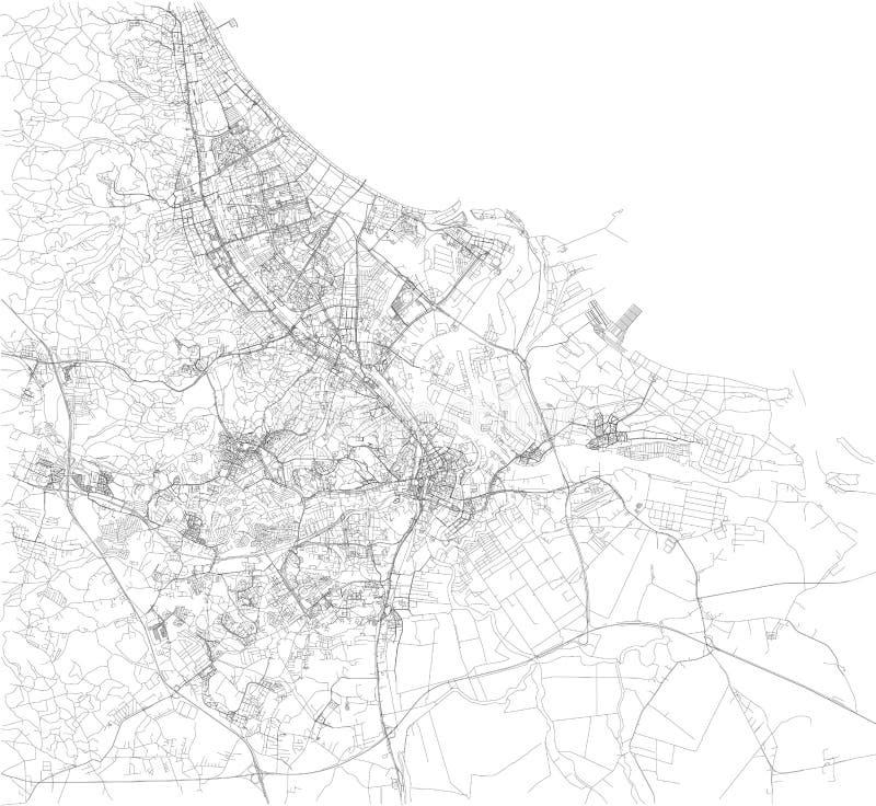 Mappa di Danzica, vista satellite, mappa in bianco e nero poland royalty illustrazione gratis
