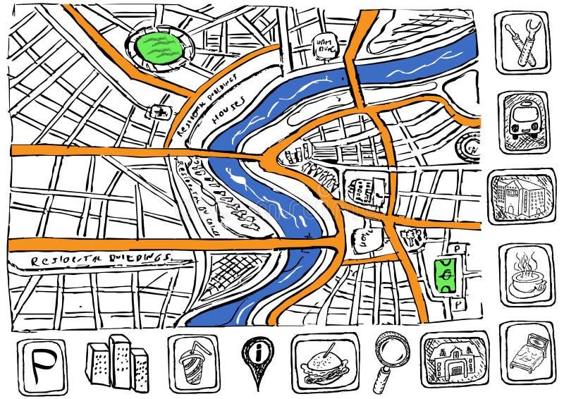 Mappa di Doodle illustrazione vettoriale