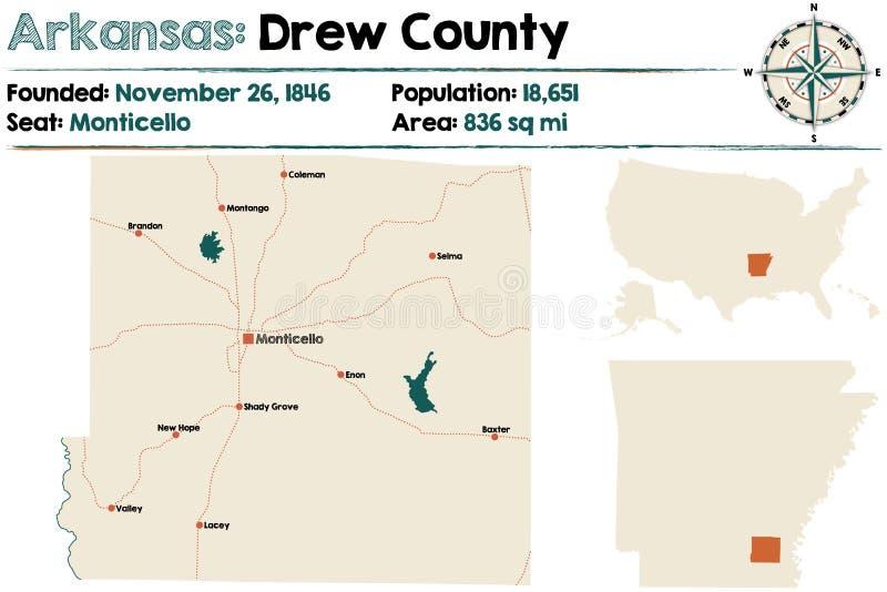 Mappa di Drew County, Arkansas illustrazione vettoriale