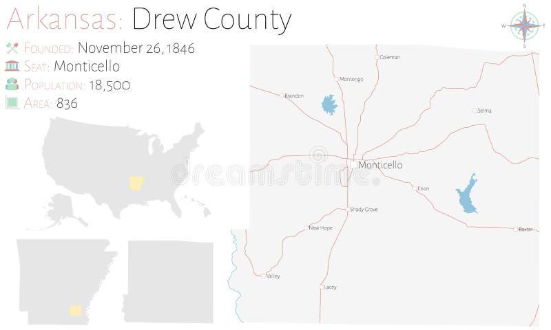 Mappa di Drew County nell'Arkansas illustrazione di stock