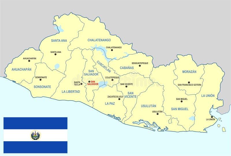 Mappa di El Salvador illustrazione vettoriale