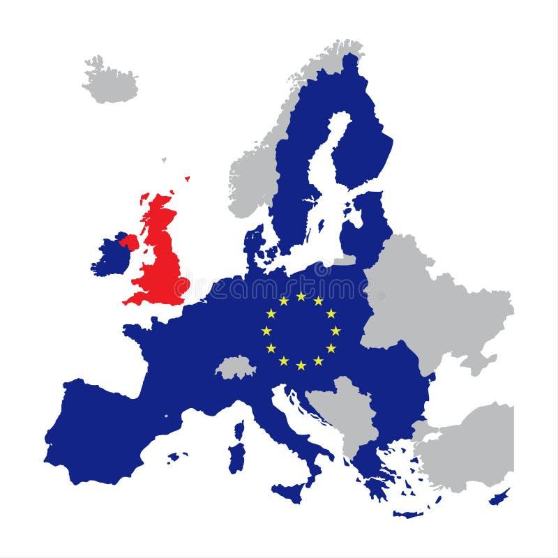 Mappa di Europa con i membri di Unione Europea e la Gran Bretagna rossa illustrazione vettoriale