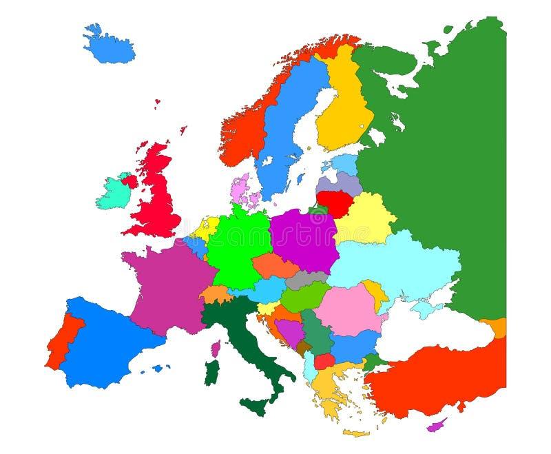 Mappa di Europa con l'isolato dei confini del paese su fondo bianco royalty illustrazione gratis