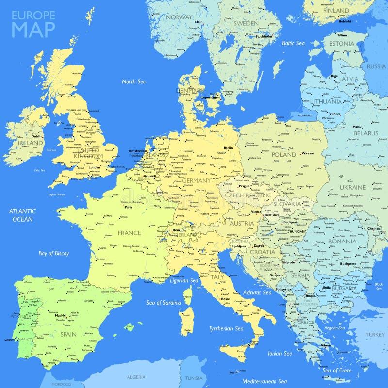 Mappa di Europa di colore illustrazione vettoriale