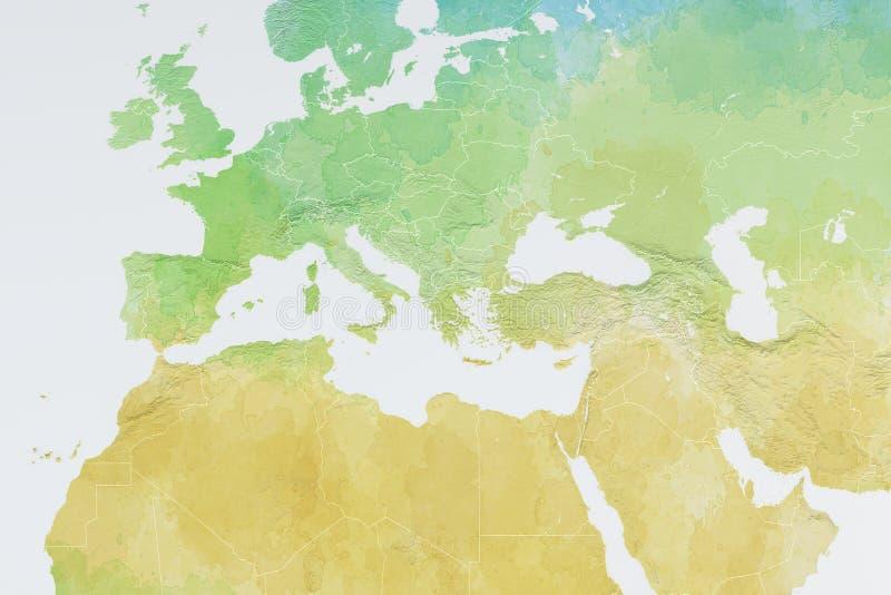 Mappa di Europa, Nord Africa e di Medio Oriente, carta in rilievo illustrazione di stock
