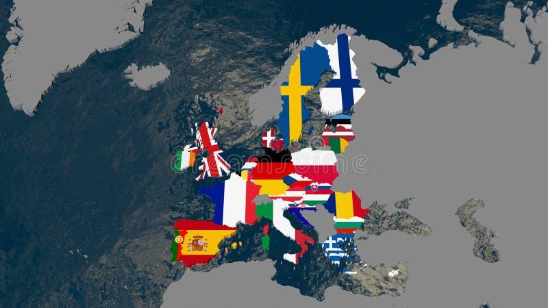 Mappa di Europa, Stati membri strutturati con le bandiere - illustrazione 3D illustrazione vettoriale