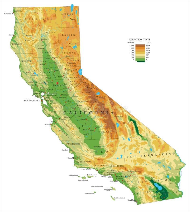 Mappa di fisico medica di California royalty illustrazione gratis