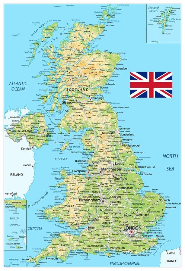 Mappa di fisico medica del Regno Unito illustrazione vettoriale