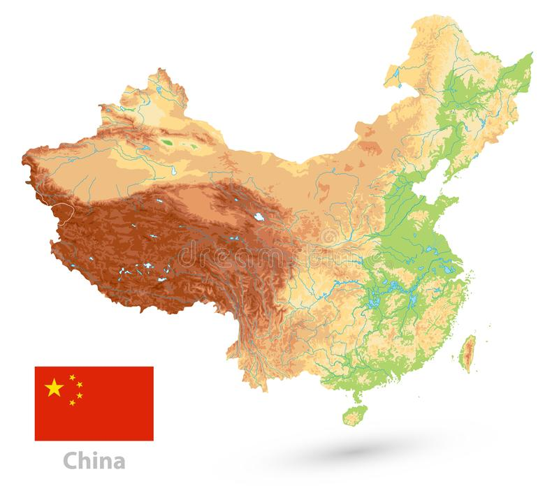 Mappa di fisico medica della Cina Su bianco NESSUN testo illustrazione vettoriale