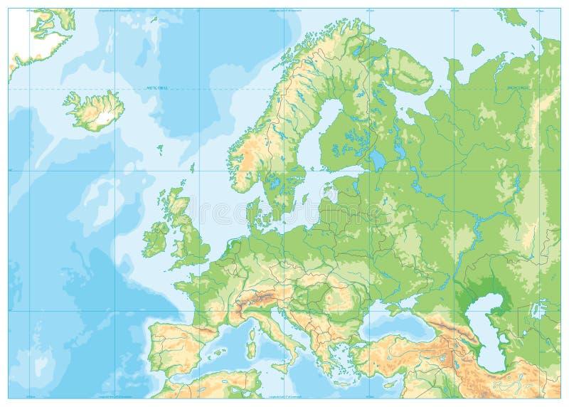 Mappa di fisico medica di Europa NESSUN testo illustrazione vettoriale