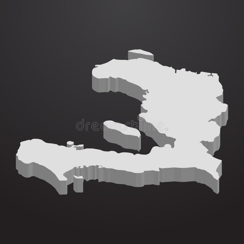 Mappa di Haiti nel gray su un fondo nero 3d illustrazione vettoriale
