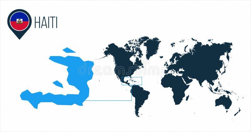 Mappa di Haiti situata su una mappa di mondo con la bandiera e puntatore o perno della mappa Mappa di Infographic Illustrazione d royalty illustrazione gratis