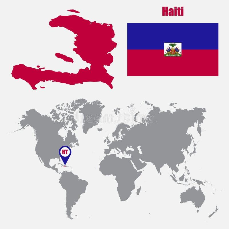 Mappa di Haiti su una mappa di mondo con il puntatore della mappa e della bandiera Illustrazione di vettore royalty illustrazione gratis