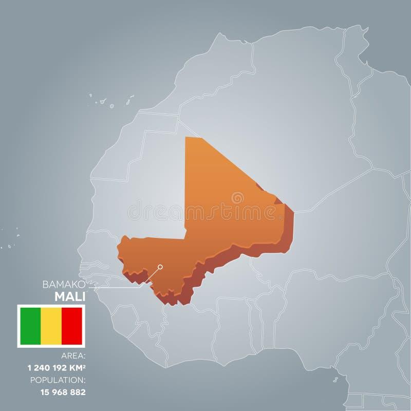 Mappa di informazioni del Mali illustrazione di stock