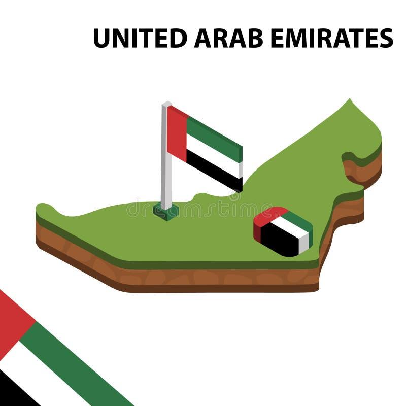 Mappa di informazioni e bandiera isometriche grafiche degli EMIRATI ARABI UNITI illustrazione isometrica di vettore 3d royalty illustrazione gratis