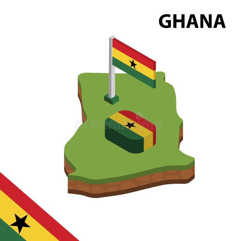 Mappa di informazioni e bandiera isometriche grafiche del GHANA illustrazione isometrica di vettore 3d royalty illustrazione gratis