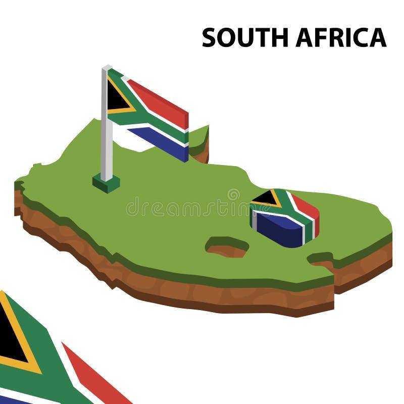 Mappa di informazioni e bandiera isometriche grafiche del SUDAFRICA illustrazione isometrica di vettore 3d royalty illustrazione gratis