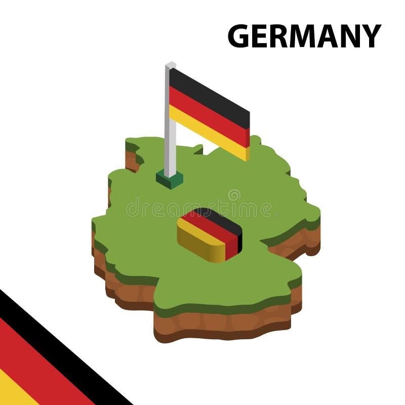 Mappa di informazioni e bandiera isometriche grafiche della GERMANIA illustrazione isometrica di vettore 3d illustrazione di stock