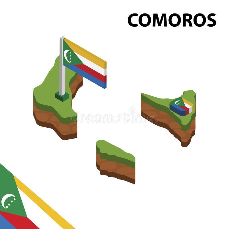 Mappa di informazioni e bandiera isometriche grafiche delle COMORE illustrazione isometrica di vettore 3d illustrazione di stock