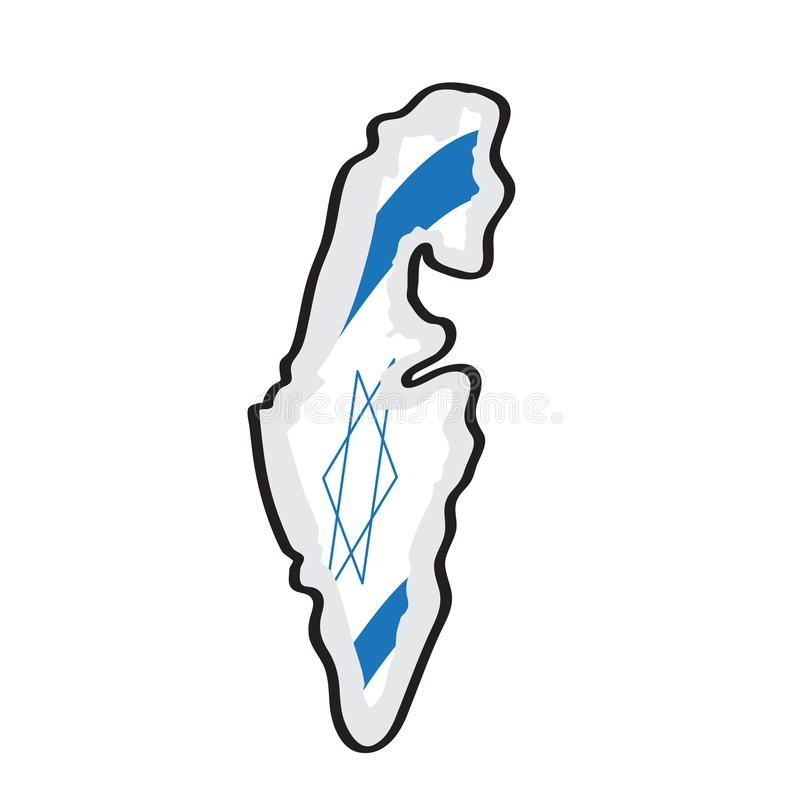 Mappa di Israele con la sua bandiera illustrazione vettoriale