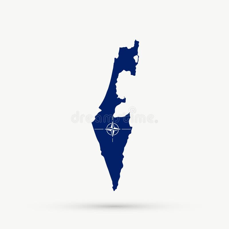 Mappa di Israele nel passo della bandiera di NATO di organizzazione del trattato del nord Atlantico royalty illustrazione gratis