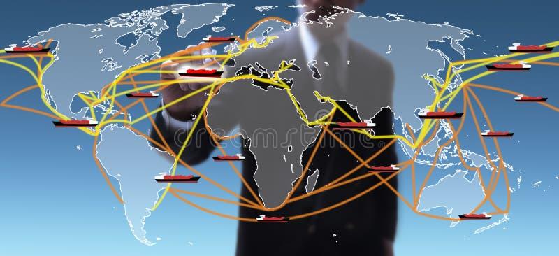 Mappa di itinerari di trasporto del mondo fotografia stock libera da diritti
