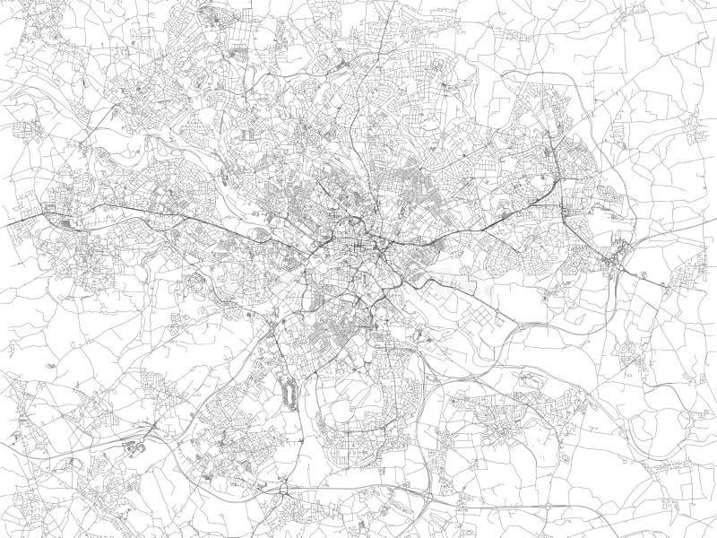 Mappa di Leeds, vista satellite della città, delle vie e delle case, Inghilterra Il Regno Unito illustrazione vettoriale