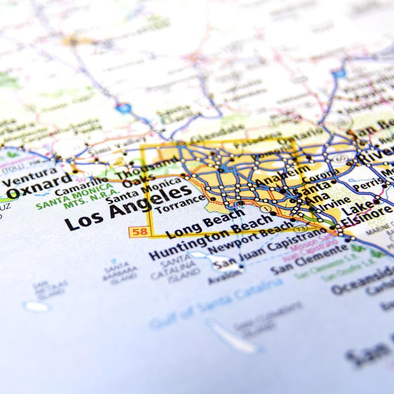 Mappa di Los Angeles-area fotografia stock