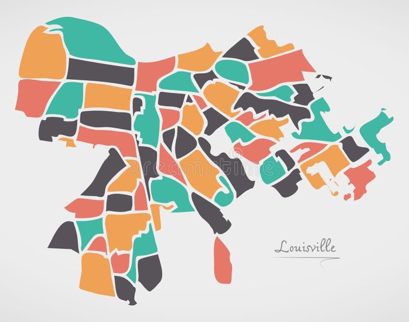 Mappa di Louisville Kentucky con le vicinanze e lo shap rotondo moderno royalty illustrazione gratis
