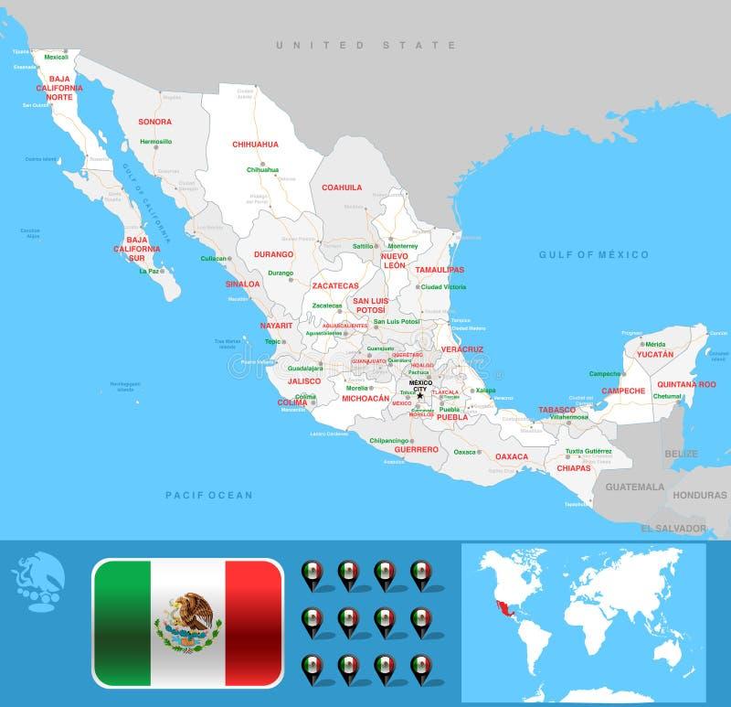 Mappa di México fotografia stock libera da diritti
