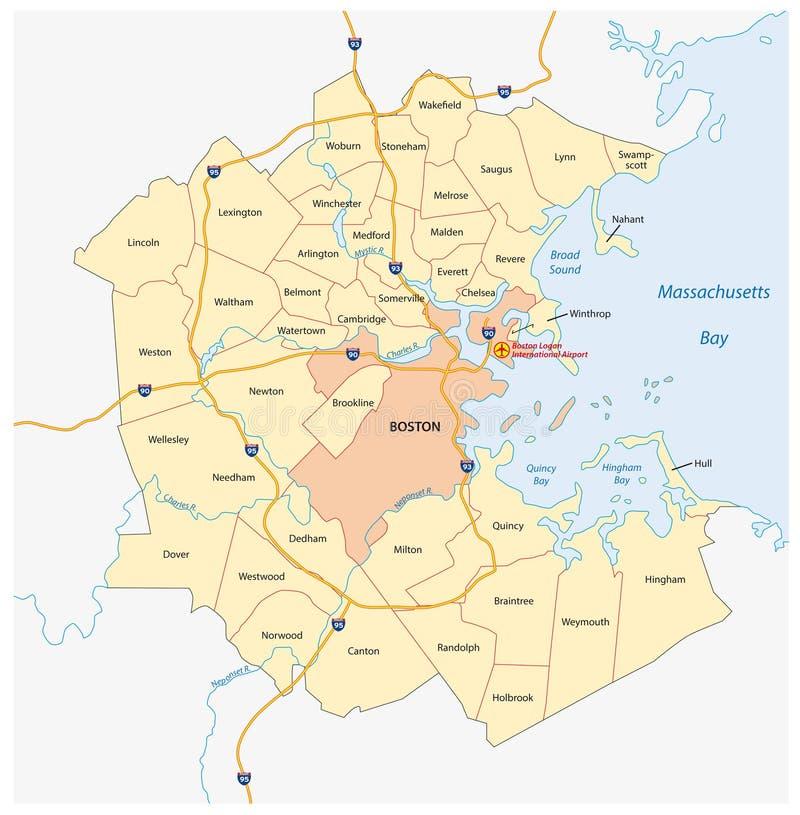 Mappa di maggior regione metropolitana di Boston, Massachusetts, Stati Uniti di vettore royalty illustrazione gratis