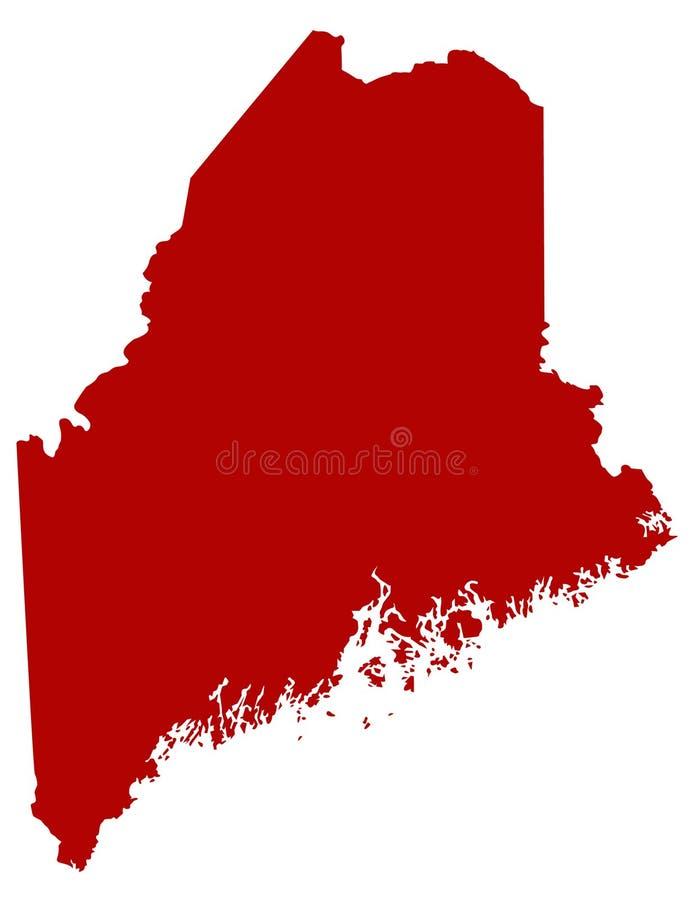 Mappa di Maine - stato nella regione della Nuova Inghilterra del nord-est degli Stati Uniti illustrazione vettoriale