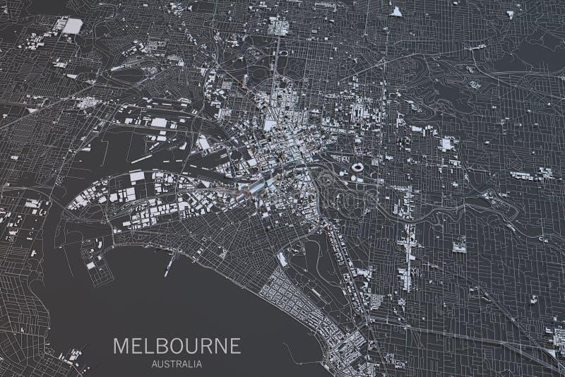 Mappa di Melbourne, vista satellite, città, Australia illustrazione di stock