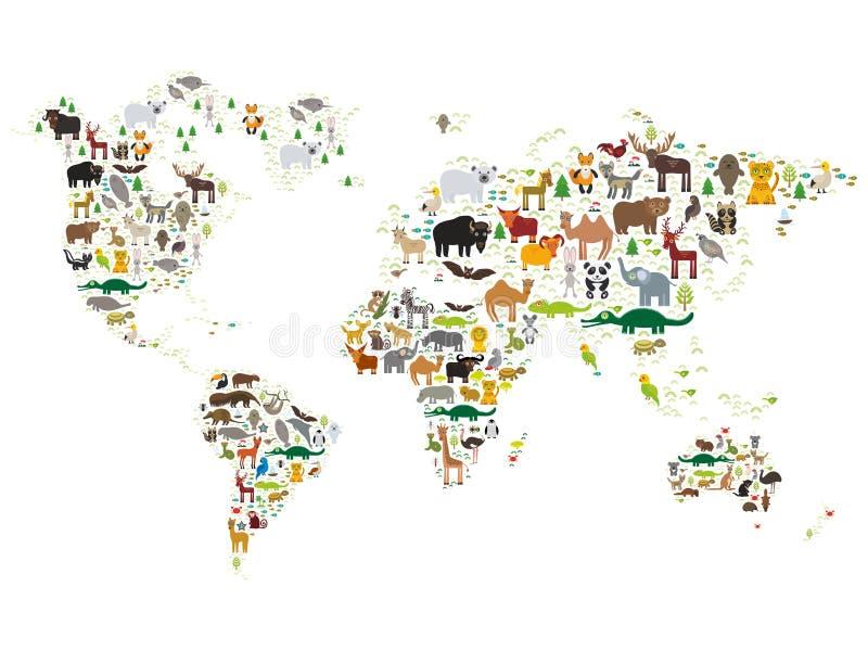 Mappa di mondo animale del fumetto per i bambini ed i bambini, animali da ogni parte del mondo su fondo bianco Vettore illustrazione di stock