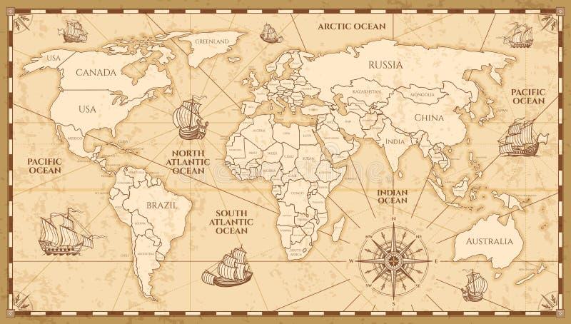 Mappa di mondo antica di vettore con le frontiere dei paesi illustrazione di stock