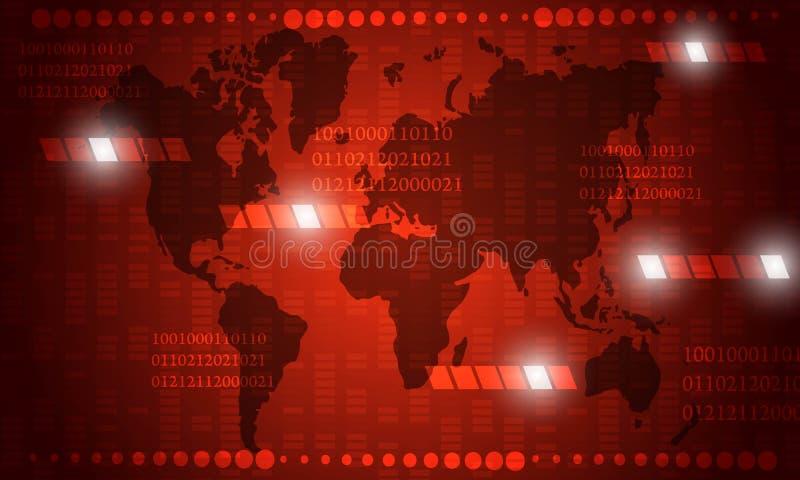 Mappa di mondo astratta nel fondo rosso di progettazione di tecnologia royalty illustrazione gratis
