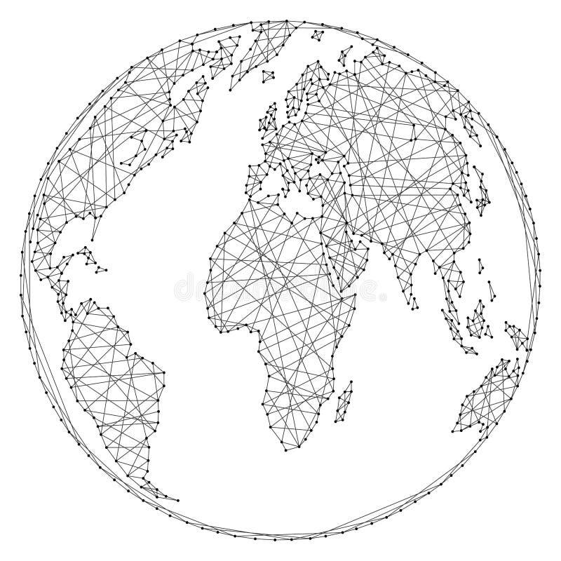 Mappa di mondo astratta su una palla del globo delle linee poligonali e punti su fondo bianco dell'illustrazione di vettore illustrazione vettoriale